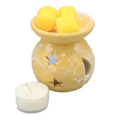 aromabrander voor geurmelts rond geel