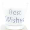 kaars in helder glas met tekst best wishes