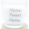 kaars in helder glas met tekst home sweet home