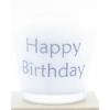 kaars in wit glas met tekst happy birthday